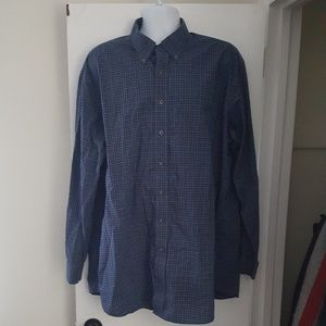 LL Bean Blue Plaid Button Front Shirt Big and Tall
